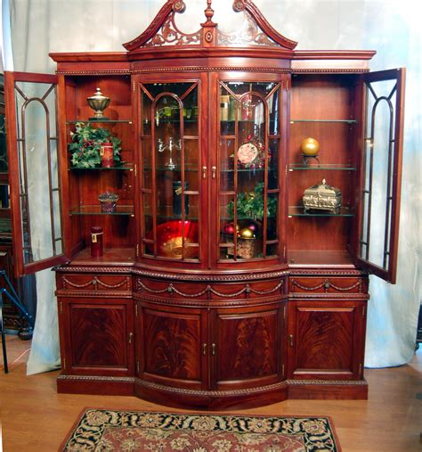 Mahogany China Cabinet by Large Georgian Mahogany Bowed Front China Cabinet Ebay
