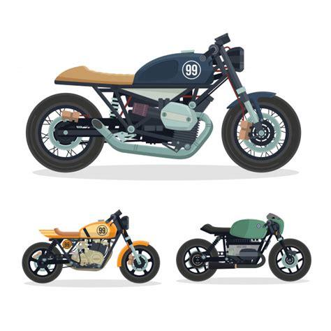 Motorrad Spiele Gratis Downloaden by Vintage Cafe Racer Motorrad Abbildung Set Download Der