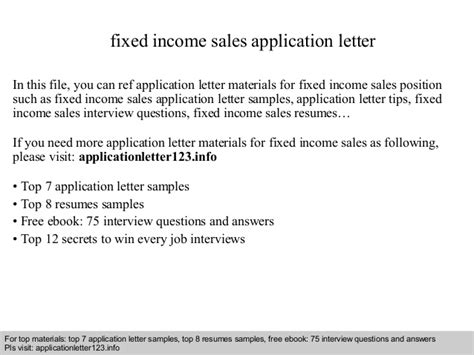 Sle Letter Of Income by Fixed Income Sales Application Letter