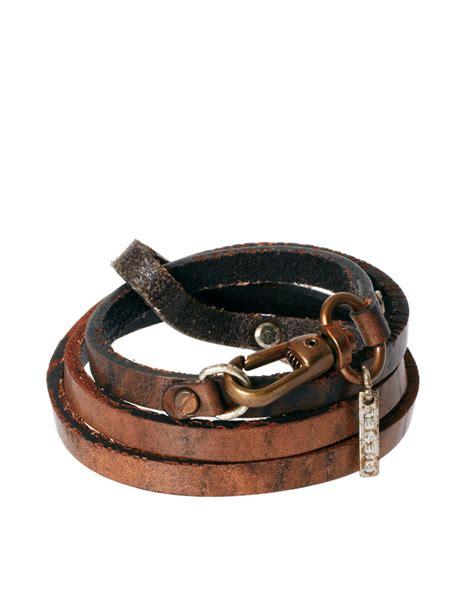Diesel Bracelet diesel leather bracelet in brown for lyst