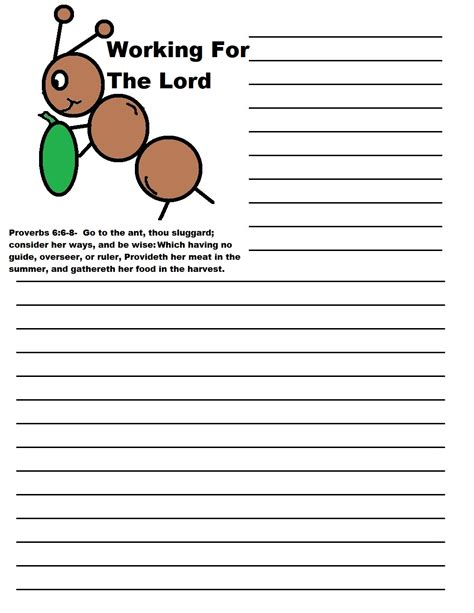 ant writing paper labor day sunday school lesson