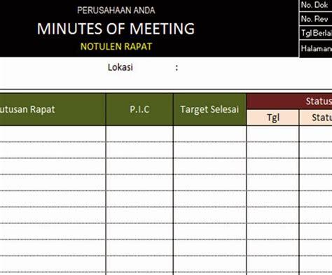 Contoh Notulen Sederhana by Pt Sistem Manajemen Utama Paket Formulir Kosong Blank