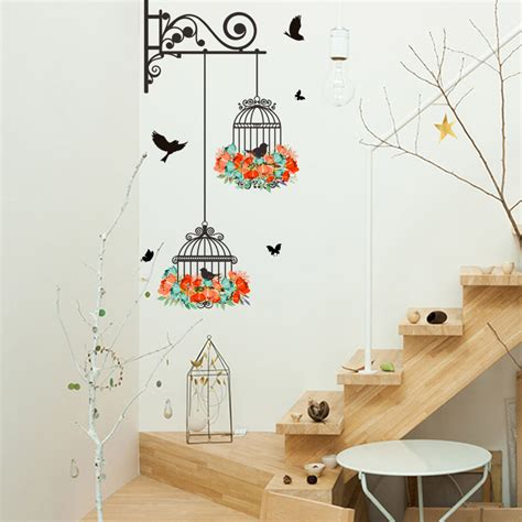 flower vine bird cage wall stickers home decor art decal