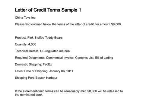 Letter Of Credit Terms And Conditions Letter Of Credit Terms