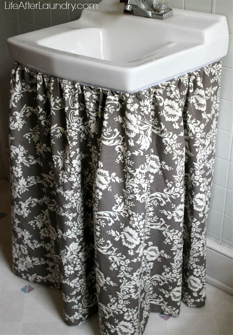 how to make a bathroom sink skirt diy gathered sink skirt