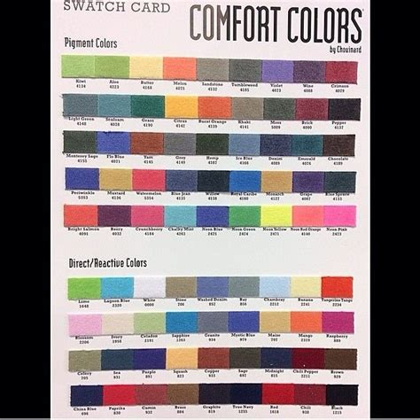 Comfortcolors Color Chart Comfort Colors Pinterest