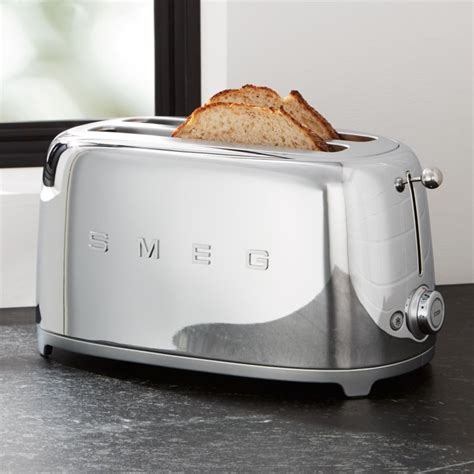 smeg silver  slice retro toaster reviews crate  barrel