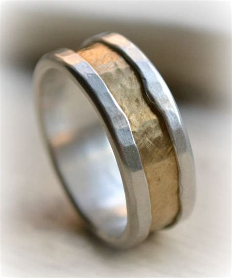 Handmade Artisan Engagement Rings - mens rustic silver and brass ring handmade by
