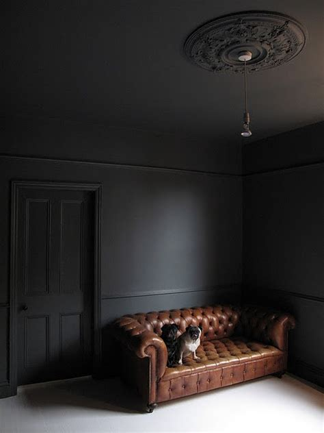 why dark walls look good in a room with little natural farrow ball down pipe ceiling too looks great with