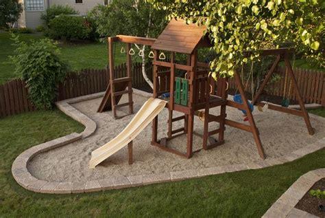 backyard playset landscaping diy swingset ideas kids