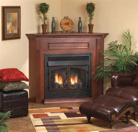 corner fireplace monessen bdv series vented gas fireplace with corner surround and hearth ventless gas