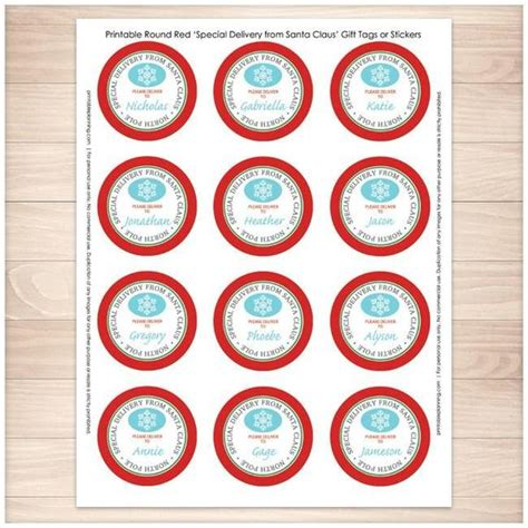 printable santa stickers special delivery from santa claus gift tag stickers