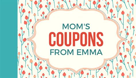 mothers day coupon booklets  personalize  print