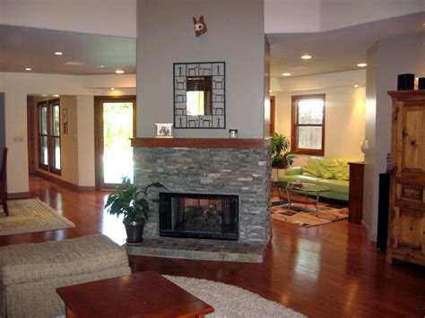 fireplace in the center of a room search