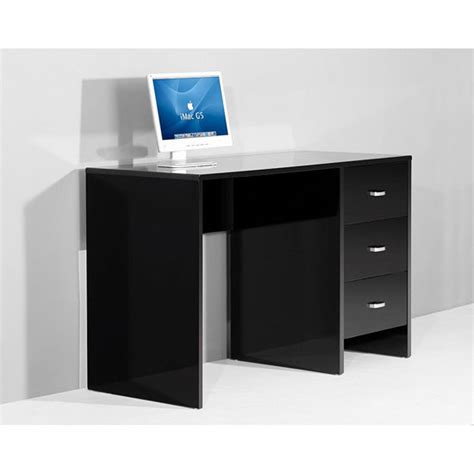 rectangular black wood computer desk for larger spaces