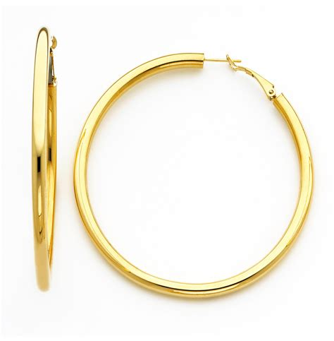 18k yellow gold 4mm high 75mm diameter hoop