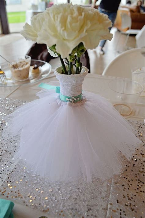 bridal shower centerpieces images wedding dress bouquet vase floral arrangement teal bling belt lace tulle bridal shower