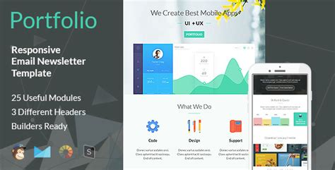 Portfolio Multipurpose Responsive Email Template By Guiwidgets Themeforest Advertising Portfolio Template