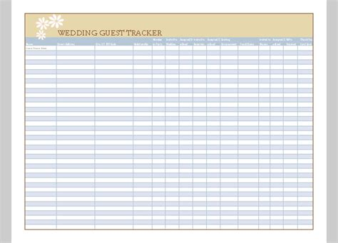 Free Printable Wedding Guest List Template List Template For Wedding Guest Example Of Wedding Guest
