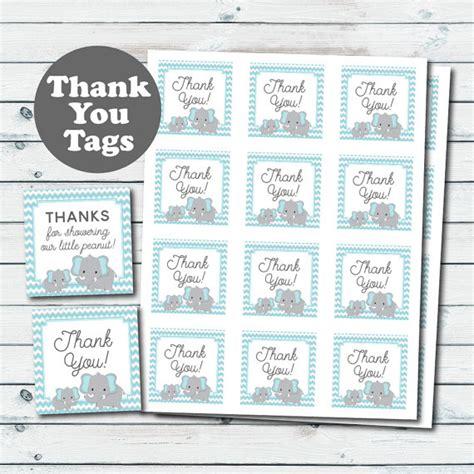 printable elephant gift tags blue elephant baby shower favor tags elephant printable thank