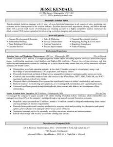 Avionics Manager Sle Resume by Exle Aviation Sales Resume Free Sle