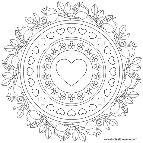 mandala coloring pages roses don t eat the paste roses and forget me nots mandala to color