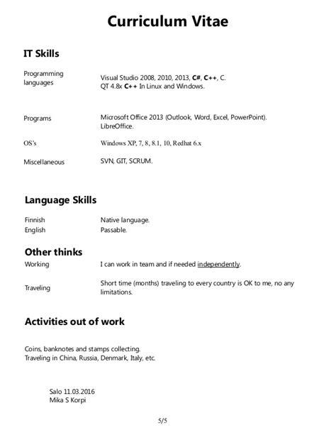 Curriculum Vitae Programming Skills by Korpi Curriculum Vitae Cv 2016 03 11 En