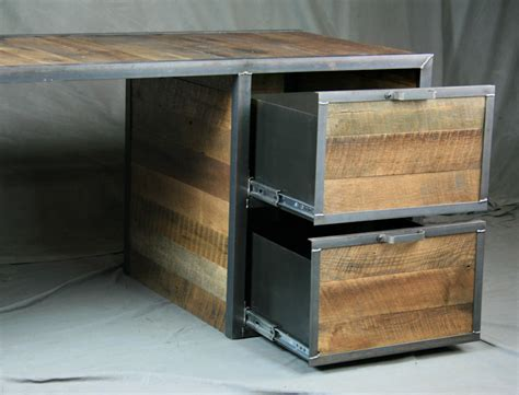 wood desk with drawers combine 9 industrial furniture reclaimed wood desk