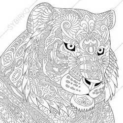 coloring tiger zentangle doodle coloring book adults digital illustration