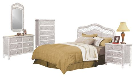 white wicker bedroom set santa cruz wicker and rattan 5 piece tropical bedroom set