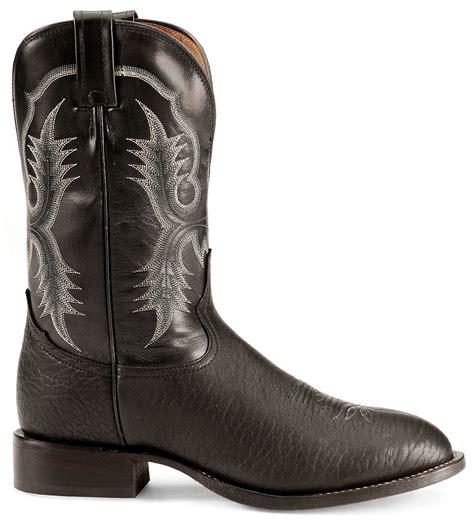 tony lama black bullhide stockman boots round toe sheplers