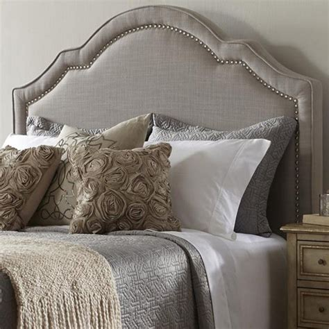 elegant taupe queen size upholstered headboard