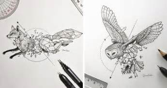 intricate drawings of wild animals fused with geometric