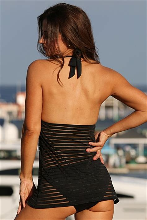ujena black sheer stripes swim dress