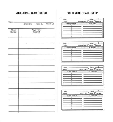 free printable volleyball lineup cards sle volleyball roster template 6 free documents