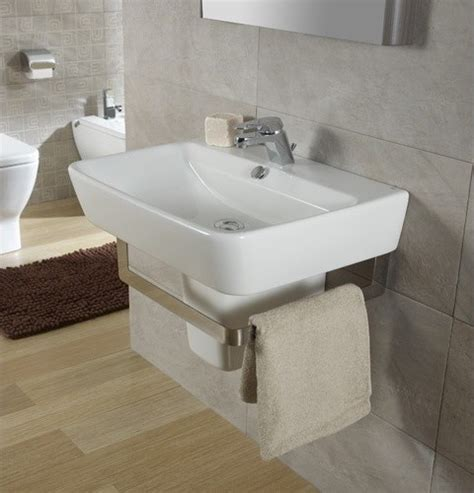 Pedestal Sink With Towel Rack by 21 7 Quot Semi Pedestal Wall Hung Bathroom Sink With