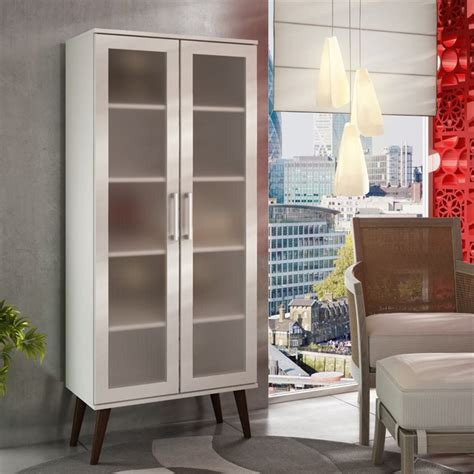 manhattan comfort serra 1 0 white 5 shelf bookcase manhattan comfort serra 5 shelf curio cabinet in white and