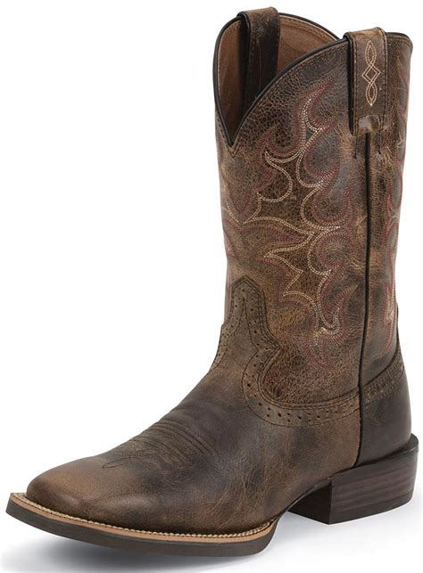 boots mens justin mens 11 quot silver collection cowboy boots antique brown