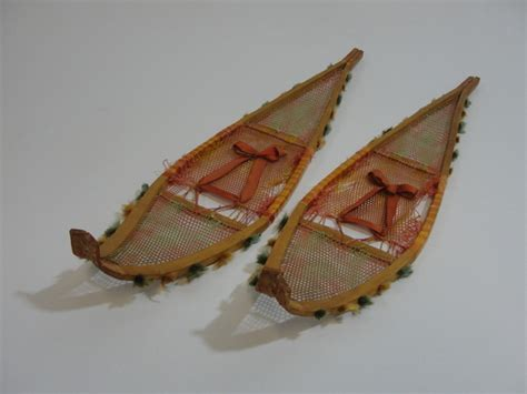 Handmade Snowshoes - antique handmade ojibwa or cree indian miniature snowshoes