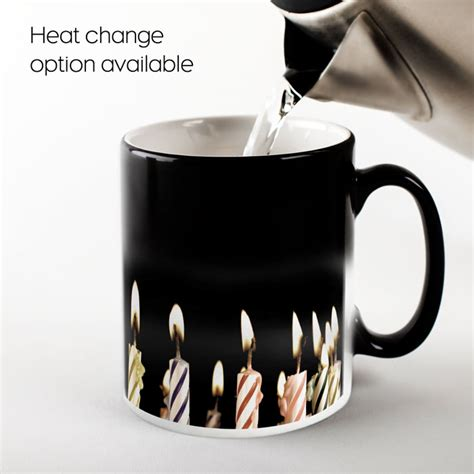 personalised heat change mug birthday candles