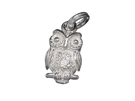 sterling silver 13x9mm owl charm with split ring