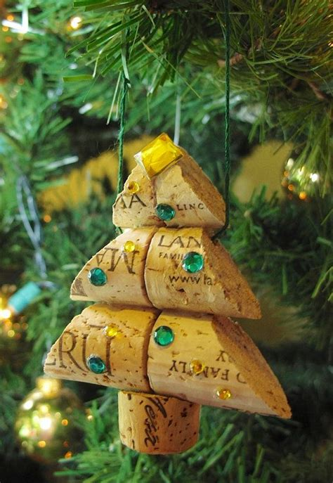 wine cork christmas tree ornament small size by lmadeit on