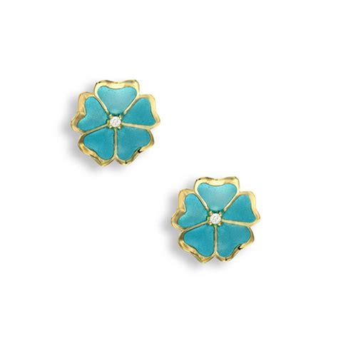 Blue Flower Stud Earrings Gold turquoise flower stud earrings 18k gold
