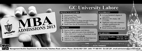 Gcu Mba by Gcu Lahore Mba Admission 2013