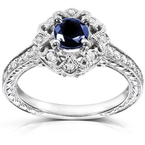 1 carat antique sapphire and engagement ring