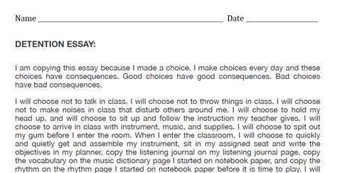 Student Behavior Essay by Middle School Band Maven Detention Essay