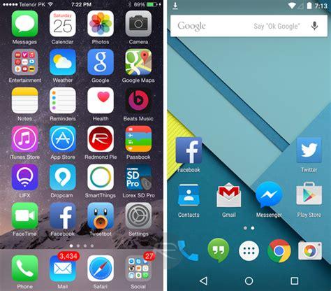 apple ios 8 1 vs android 5 0 lollipop visual