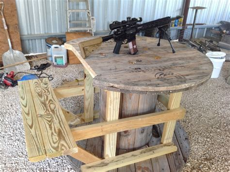 how to make a shooting bench out of wood shooting bench made out of big wooden spools ar15 com