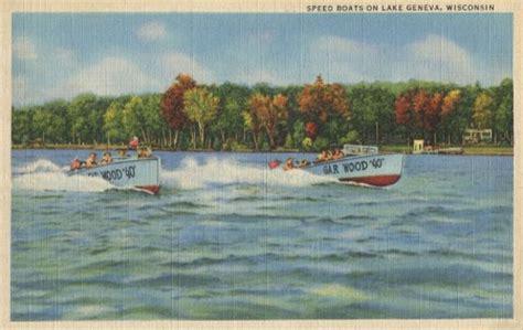 boat angel wisconsin vintage boating postcard from lake geneva wisconsin