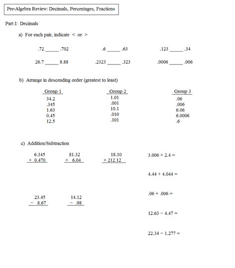 Prealgebra Worksheets by Math Plane Pre Algebra Review 2